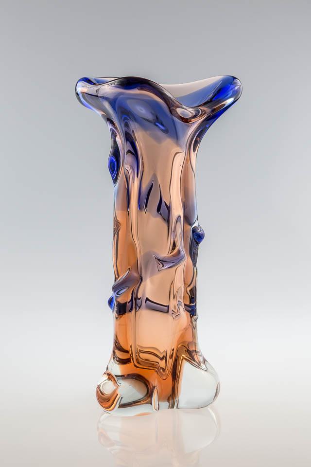 szkło artystyczne – unikatowy wazon pochodzący z czeskiej huty szkła Skrdlovice - lata 60.