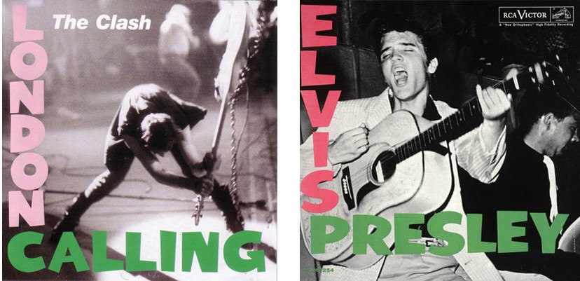 """Final version of the """"London Calling"""" cover (1979), on the right Elvis Presley's debut album cover (1956)"""