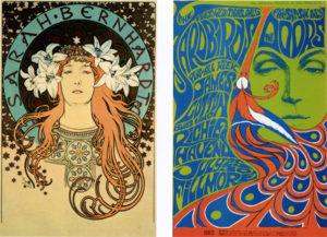 Alphonse Mucha, 1896; Bonnie Maclean, 1967