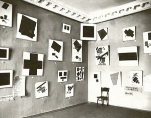 A section of Suprematist works by Kazimir Malevich exhibited at the 0.10 Exhibition, Petrograd, 1915