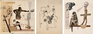 Erwin Blumenfeld, Marquis de Sade, 1921; Francis Picabia, Alarm Clock, 1919; Erwin Blumenfeld, Humans With Brains, photomontage, 1921