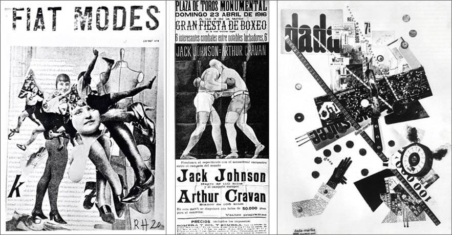 Raoul Hausmann, Fiat Modes, 1920; Boxing match between Jack Johnson and Arthur Cravan – poster, Barcelone, 23 avril 1916; George Grosz, John Heartfield, Dada-merica, 1919