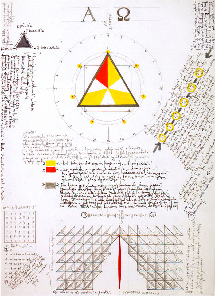 Jerzy Grabowski – Alpha and Omega (Mirror Symmetry of Transfigured Signs of the Record of Digit 7), 1987, marker, pencil on paper