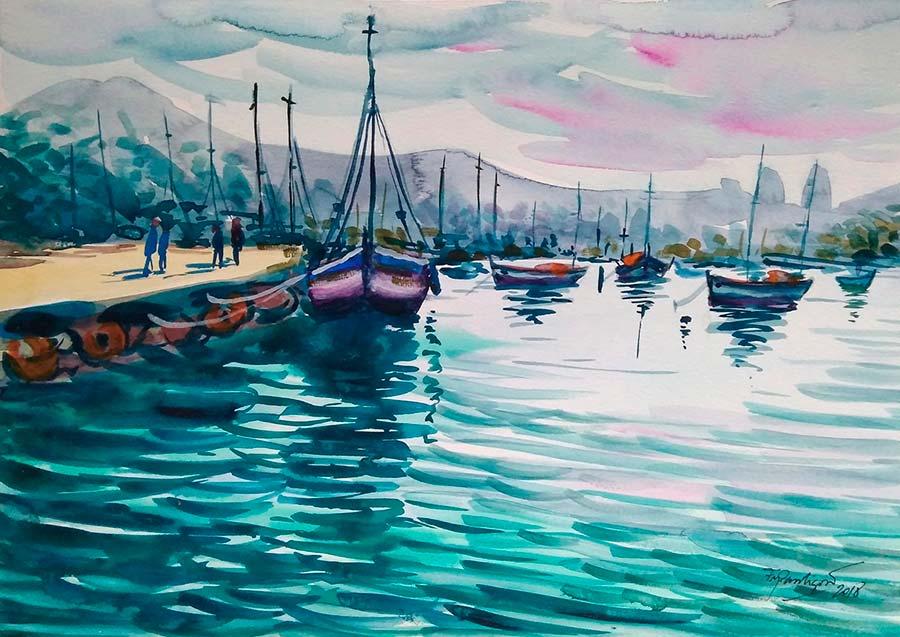 Francisco Pantigoso, Boat on the dock